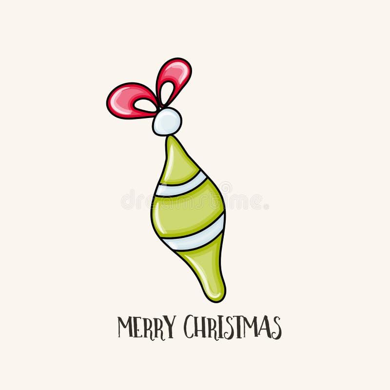 Typografie der frohen Weihnachten Pelzbaum-Dekorationsspielzeug in grünem Col. lizenzfreie abbildung