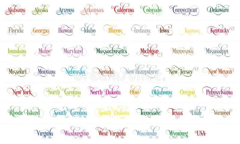 Typografie der USA gibt alle Namen-bunte handgeschriebene Illustration auf weißem Hintergrund an lizenzfreie abbildung