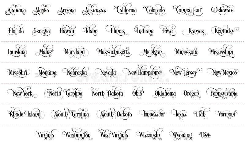 Typografie der USA gibt alle Namen-Schwarz-handgeschriebene Illustration auf weißem Hintergrund an vektor abbildung