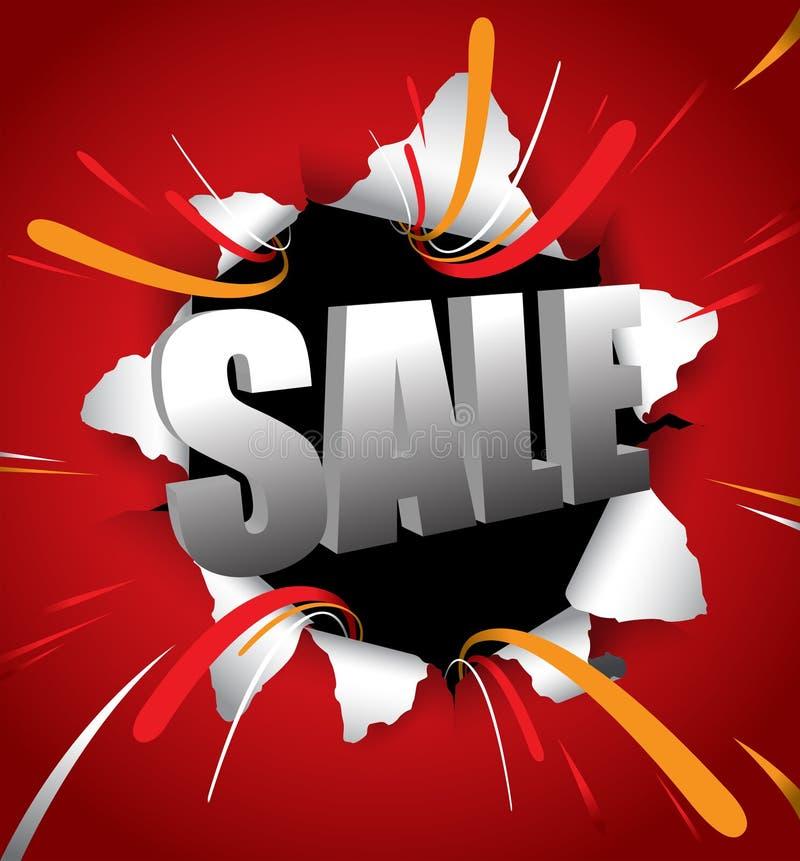 Typografie des Verkaufs 3d werfen heraus auf roten Hintergrund lizenzfreie abbildung