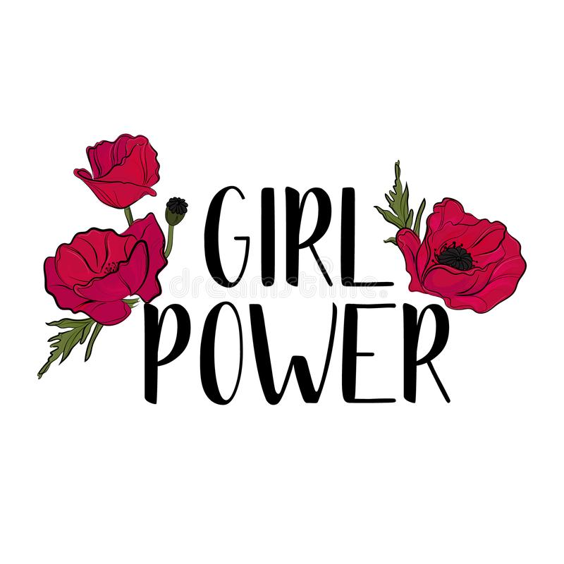Typografie feministische slogan met leuke rode bloemenvector voor t-shirtdruk en borduurwerk, Grafisch T-stuk met Meisjesmacht vector illustratie