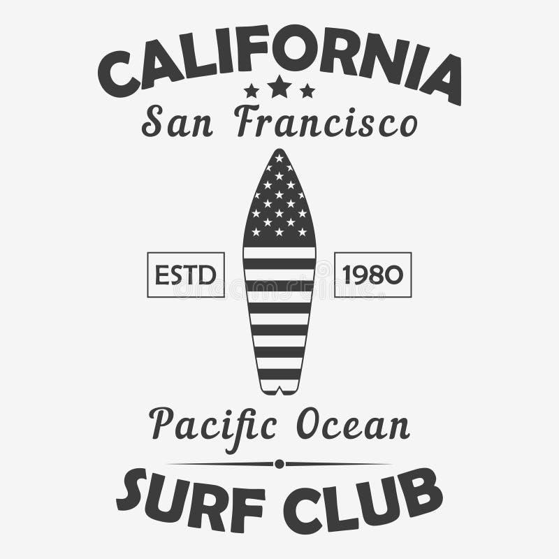 Typografie Kaliforniens, San Francisco für Design kleidet, T-Shirt Brandungs-Clubgraphiken des Pazifischen Ozeans Auch im corel a vektor abbildung