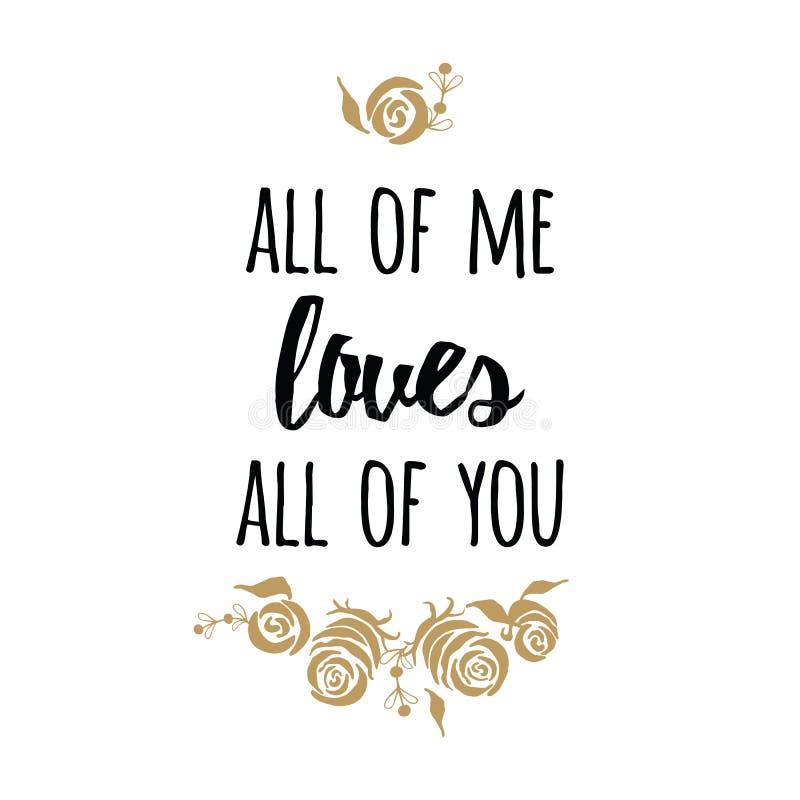 Typografie romantische affiche over liefde Vectorcitaat Gouden rozen stock illustratie