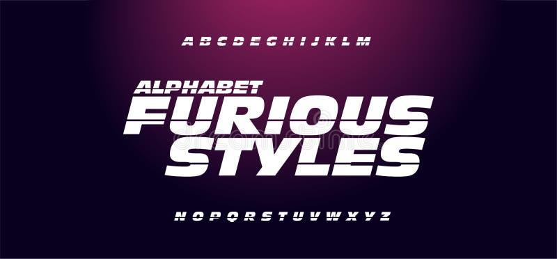 Typografie snelle en furieuze stijllettertypen vector illustratie