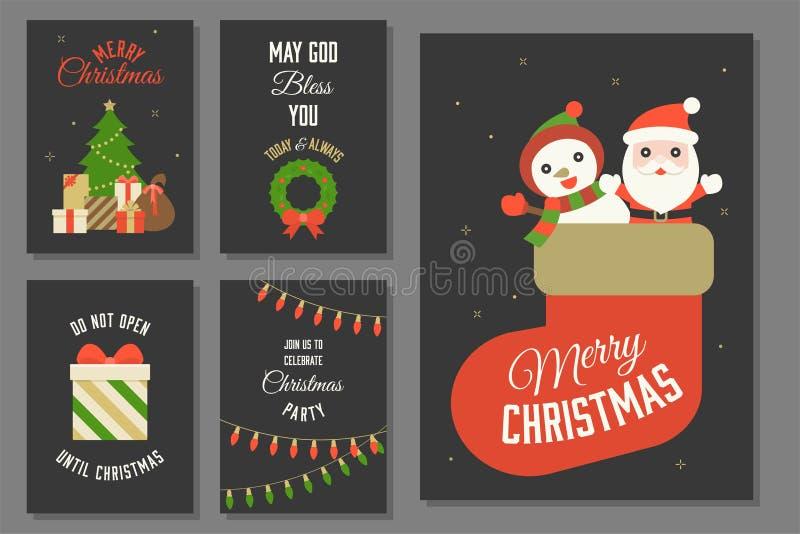 Typografie und Elemente der frohen Weihnachten lizenzfreie abbildung