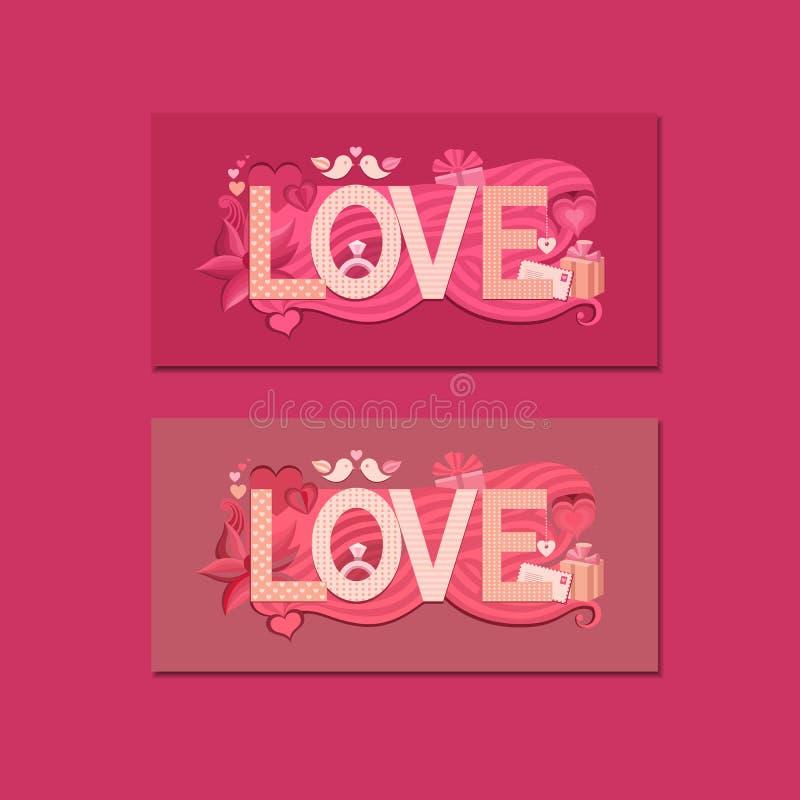 Typografie-Valentinsgrußtag lizenzfreie abbildung