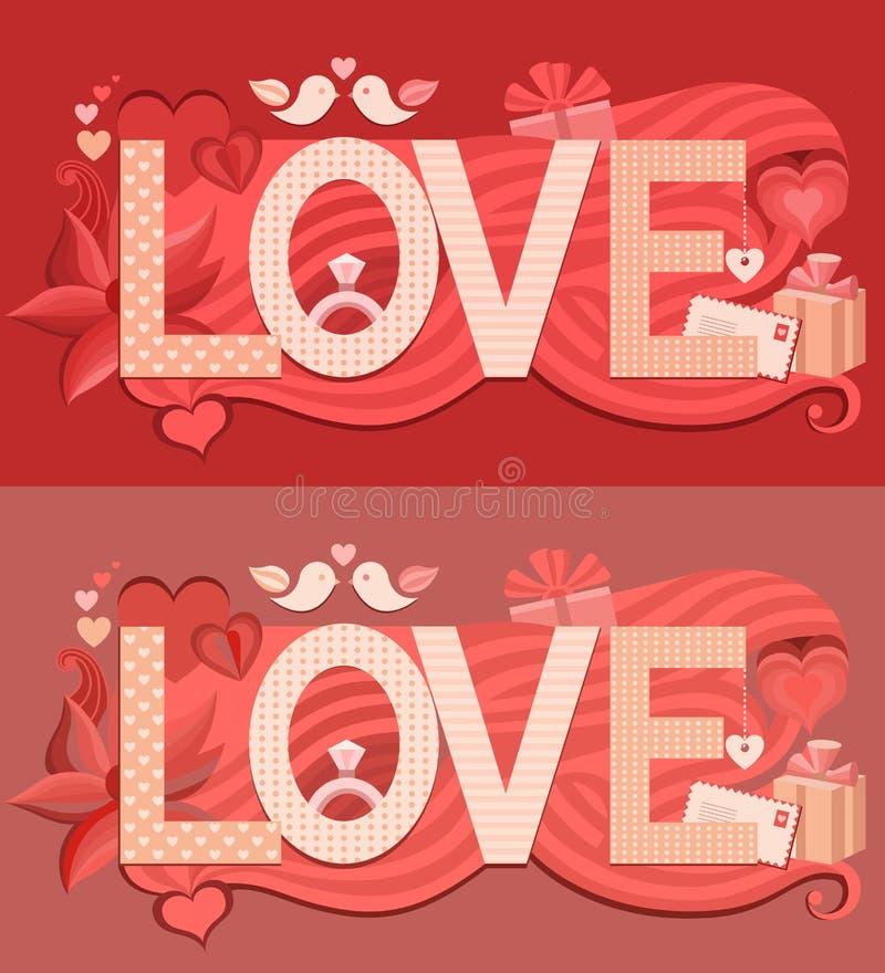 Typografie-Valentinsgrußtag stock abbildung