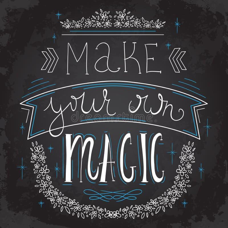 Typografieaffiche met het van letters voorzien en hand getrokken elementen op bordachtergrond Inspirational citaat stock illustratie