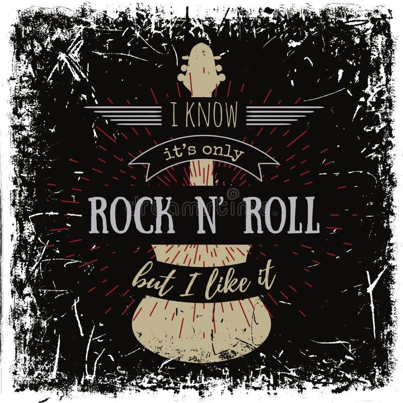 Typografieaffiche met silhouet van gitaar op grungeachtergrond vector illustratie