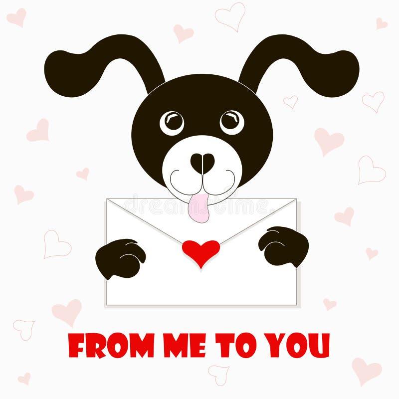 Typografiebanner van me aan u, zwart-witte beeldverhalenhond met envelop, rode harten vector illustratie