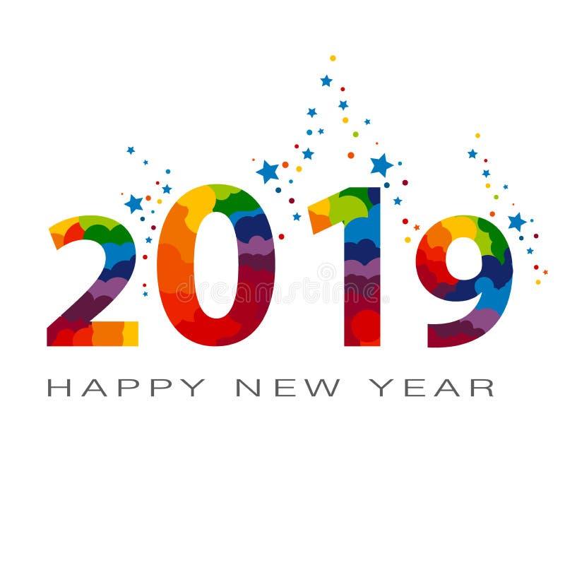 Typografieentwurf des Funkelns 2019 farbiger Lametta funkelnder Zahl-Entwurf der Grußkarte des guten Rutsch ins Neue Jahr-Entwurf vektor abbildung