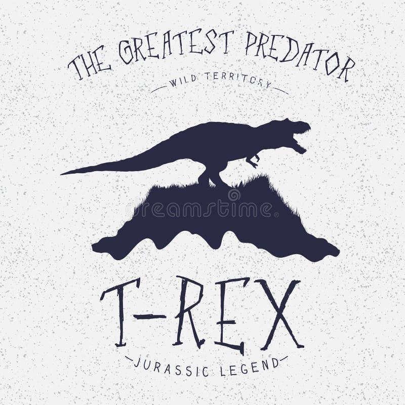 Typografieetiket Dinosaurus op de berg royalty-vrije illustratie