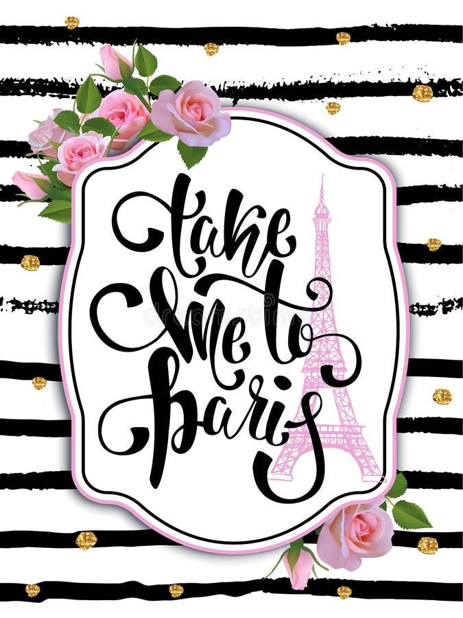 Typografiekaart, t-shirt, mokdruk De achtergrond van Parijs met slogan stock illustratie