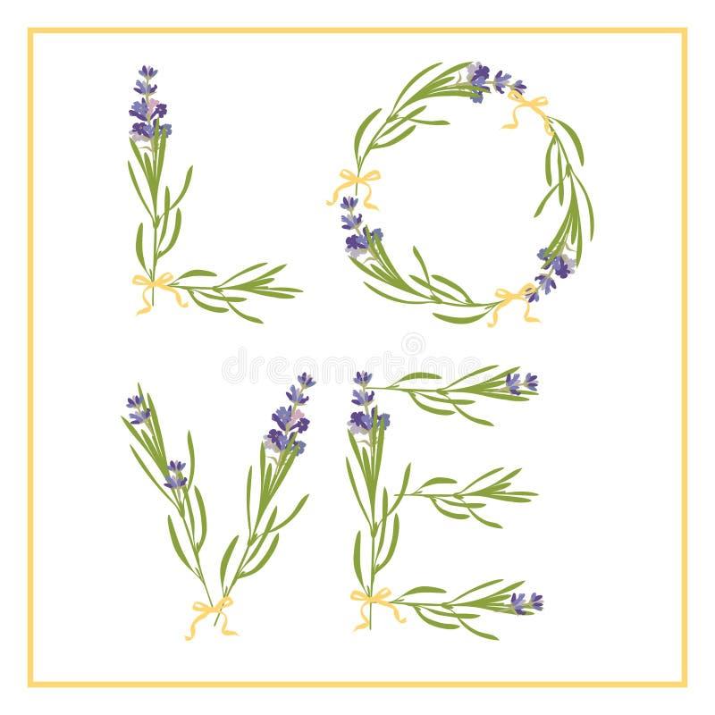 Typografieslogan met de tekstliefde van de lavendelbloem voor t-shirtdruk, borduurwerk, ontwerp grafisch en gedrukt T-stuk vector illustratie