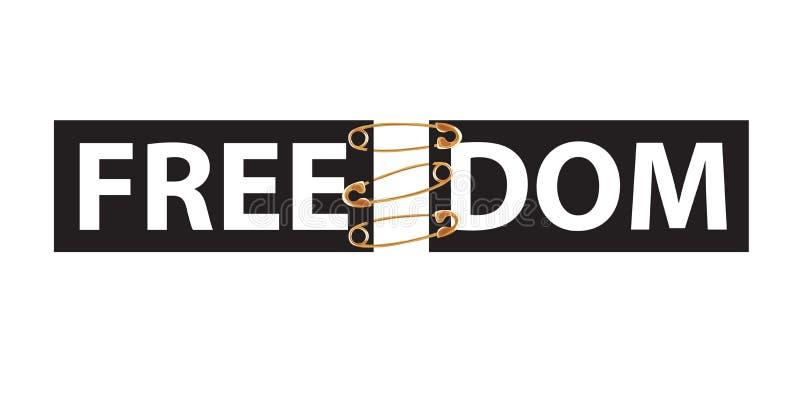 Typografieslogan met spelden T-shirtdruk Word is Vrijheid stock illustratie