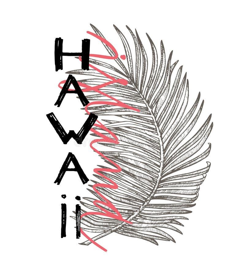 Typografieslogan met tropische bladeren Hand getrokken het eilandvector van Hawaï voor t-shirtdruk royalty-vrije illustratie
