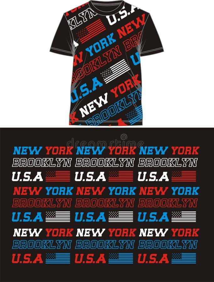 Typografievlag de V.S. in T-shirt, vector stock illustratie