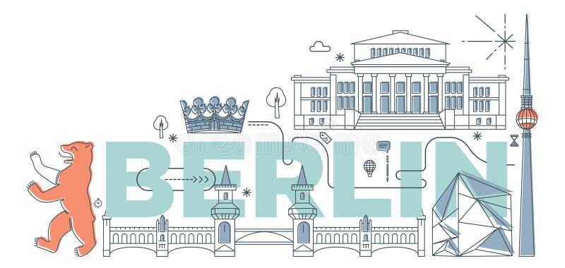 Typografiewoord ` Berlijn ` het brandmerken technologieconcept vector illustratie
