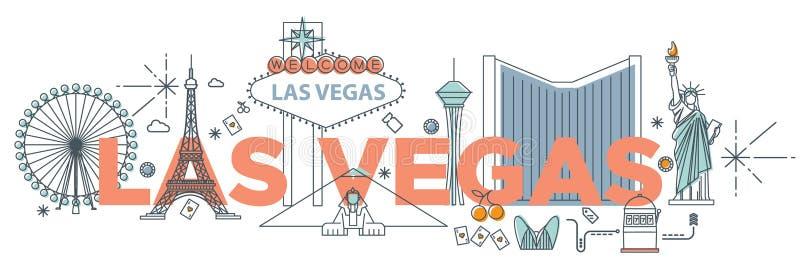 Typografiewoord ` die Las Vegas technologieconcept brandmerken vector illustratie