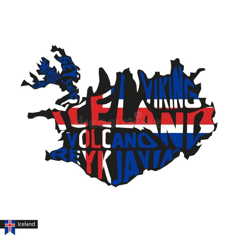 Typografii mapy sylwetka Iceland w czerń i flagi kolorach ilustracja wektor