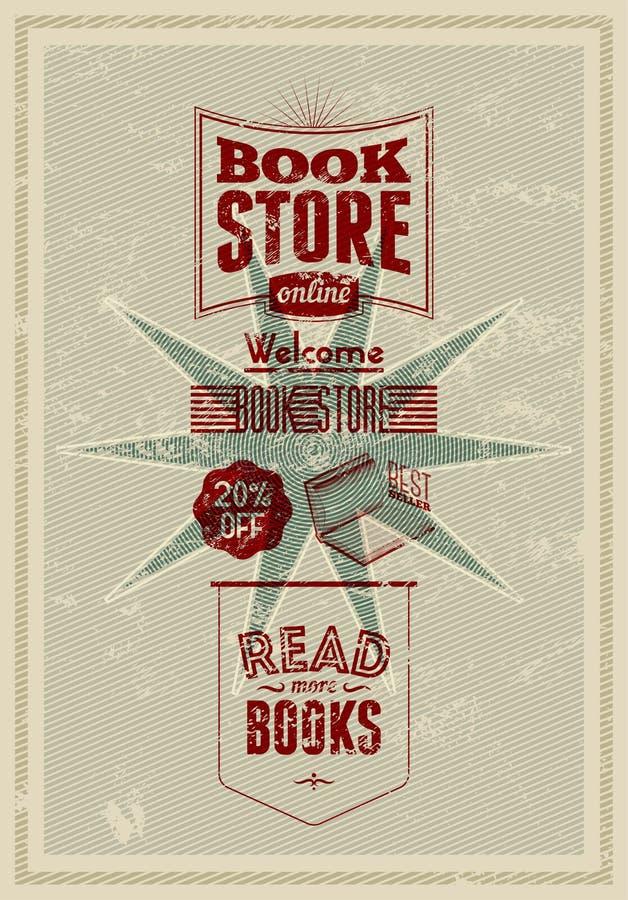 Typografii retro bookstore plakatowy projekt również zwrócić corel ilustracji wektora ilustracji