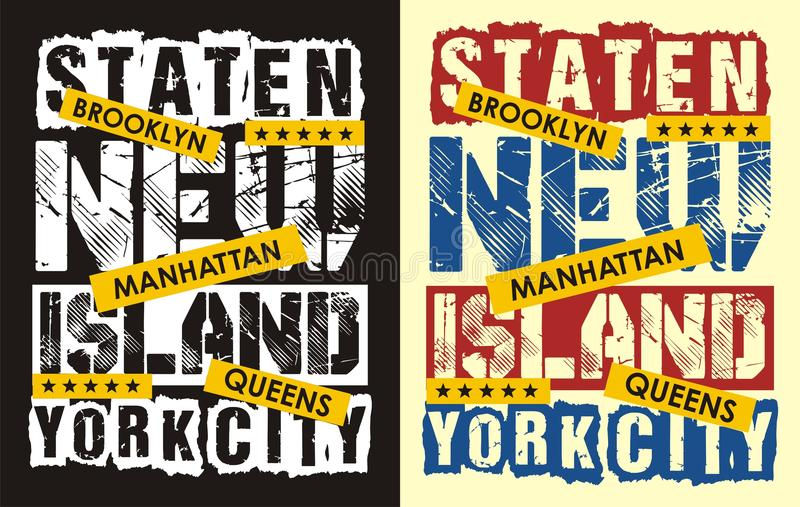 02 typografii York nowy staten island, ilustracja wektor