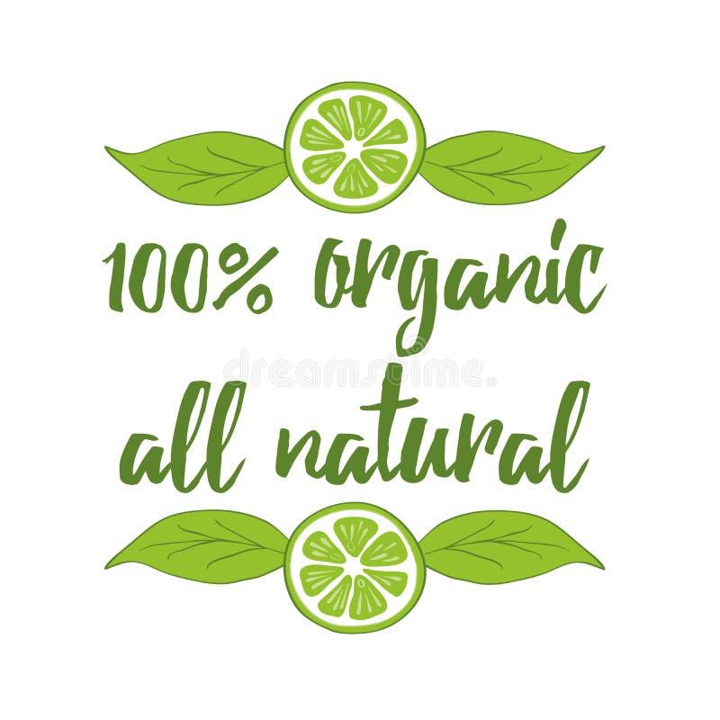 Typografisch element 100 biologisch product, al natuurlijk etiket op witte achtergrond vector illustratie