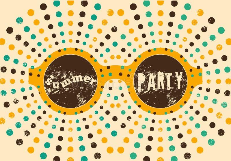 Typografisch retro de afficheontwerp van de de Zomerpartij grunge Vector illustratie vector illustratie