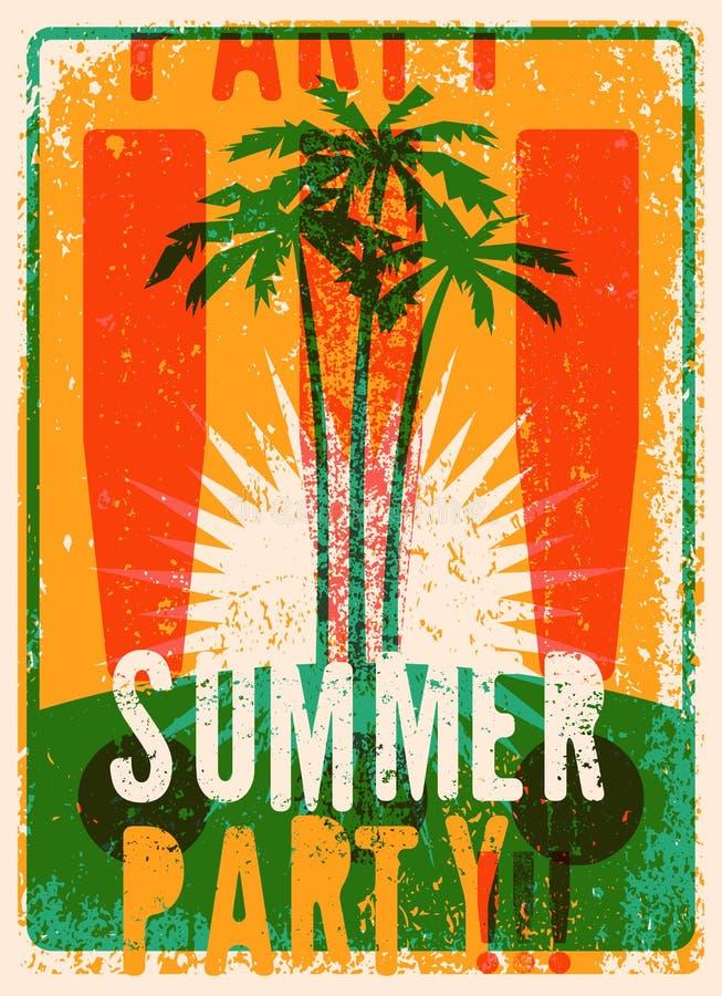 Typografisch retro de afficheontwerp van de de Zomerpartij grunge Vector illustratie Eps 10 stock illustratie