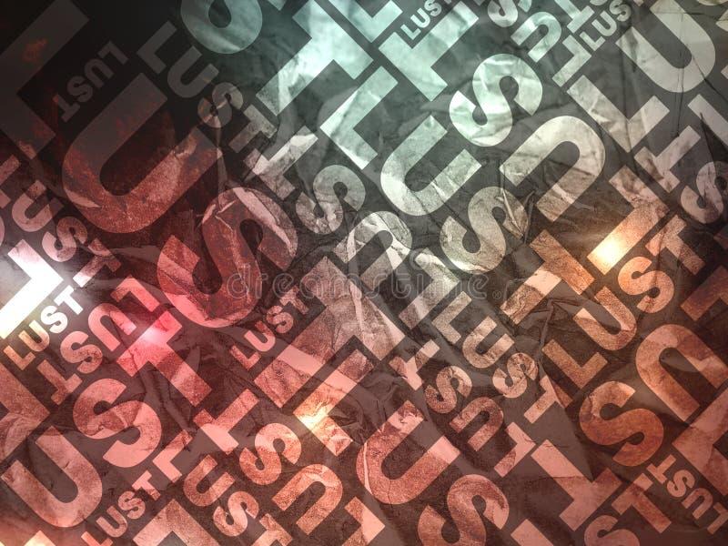 Typografische Beschaffenheit der Sinneslust lizenzfreie abbildung