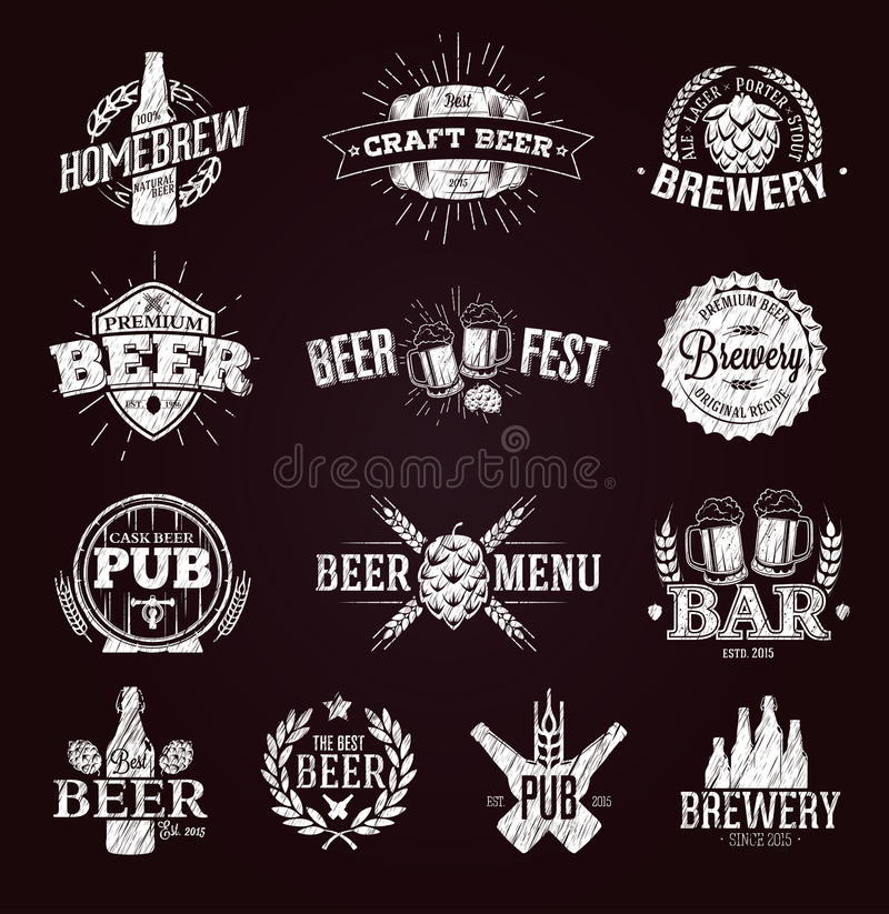 Typografische Bieraufkleber und -logos stock abbildung