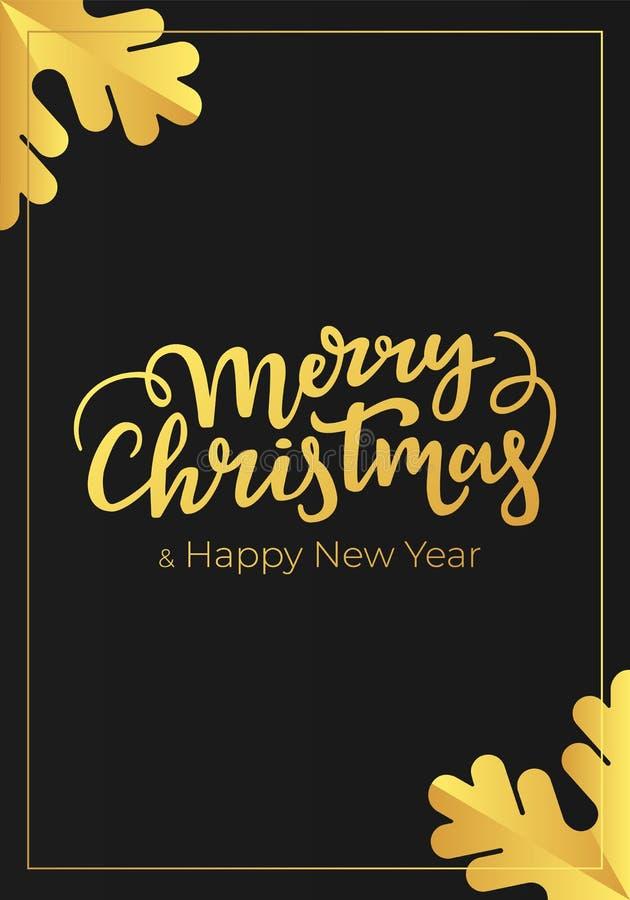 Typografische festliche Luxuspostkarte mit Weihnachts- und des neuen Jahresbeschriftungsgrüßen auf einem schwarzen Hintergrund de stock abbildung