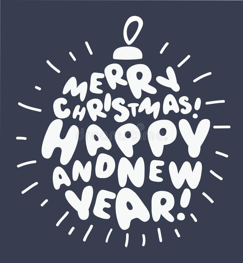Typografische groetkaart Vrolijke Kerstmis en Gelukkig Nieuwjaar lettering De textuur van Grunge stock illustratie