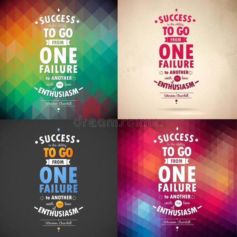 Typografische Hintergrund-Illustration mit Zitat von Winston Churchill Geometrische Rüttler und Papierhintergrund stock abbildung