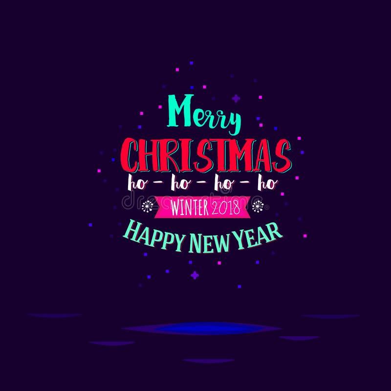Typografische Kerstmis en Nieuwjaar royalty-vrije illustratie