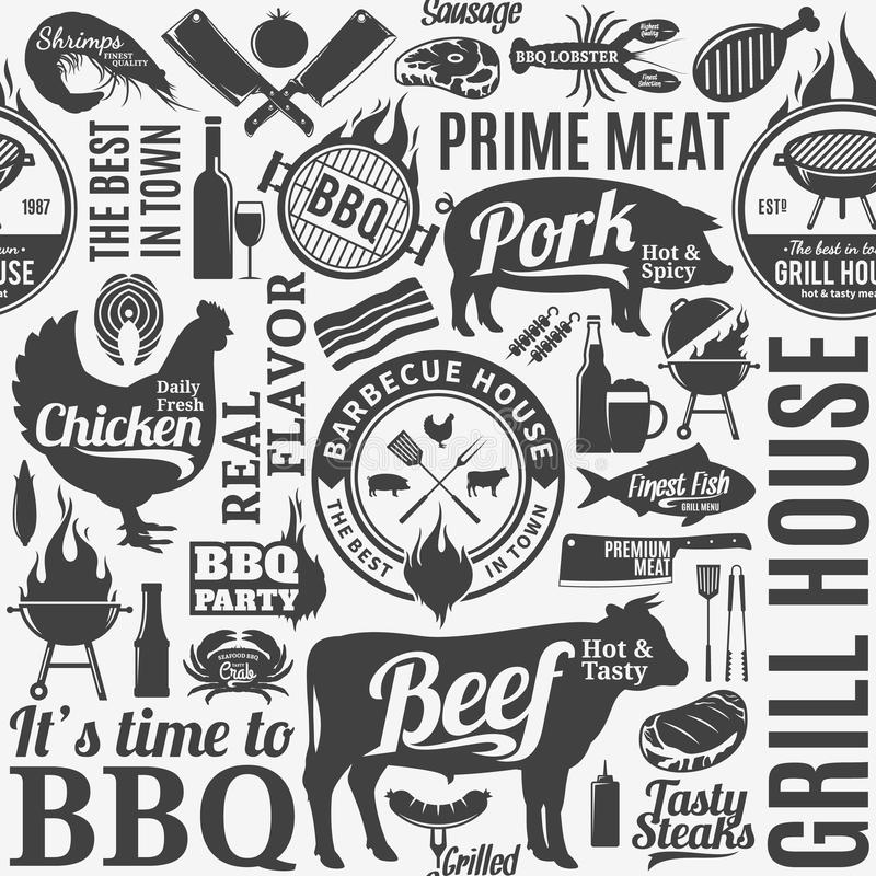 Typografische vectorbarbecue naadloze patroon of achtergrond royalty-vrije illustratie