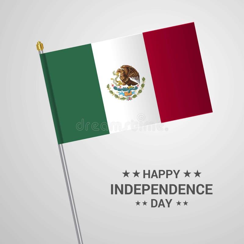 Typografischer Entwurf Mexiko-Unabhängigkeitstags mit Flaggenvektor lizenzfreie abbildung