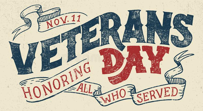 Typografisches Design des Veteranentagesfeiertags vektor abbildung