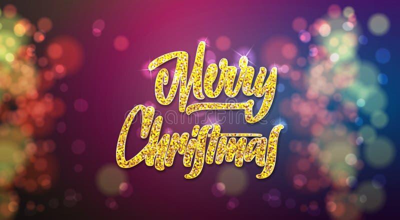 Typografisches Emblem der frohen Weihnachten und des guten Rutsch ins Neue Jahr 2019 Handgemachte Beschriftung des Vektorlogos un vektor abbildung