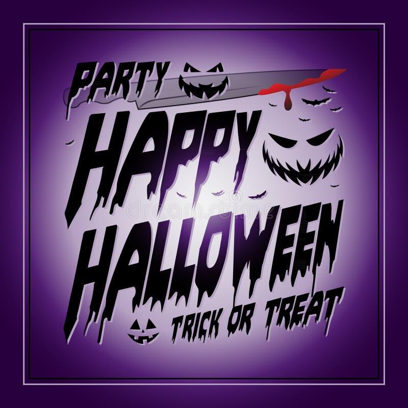 Typografisches Purpur Weinlese-glückliches Halloweens lizenzfreie abbildung