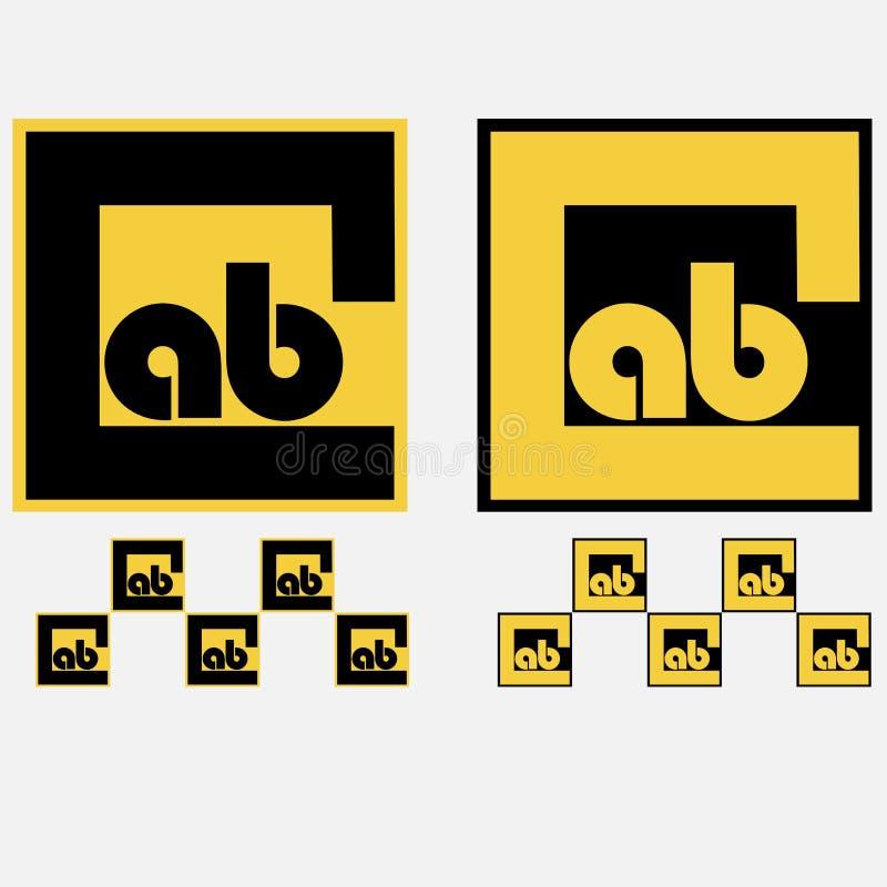 Typografisches Schwarzes des Taxilogos und gelb, Fahrerhaus stock abbildung