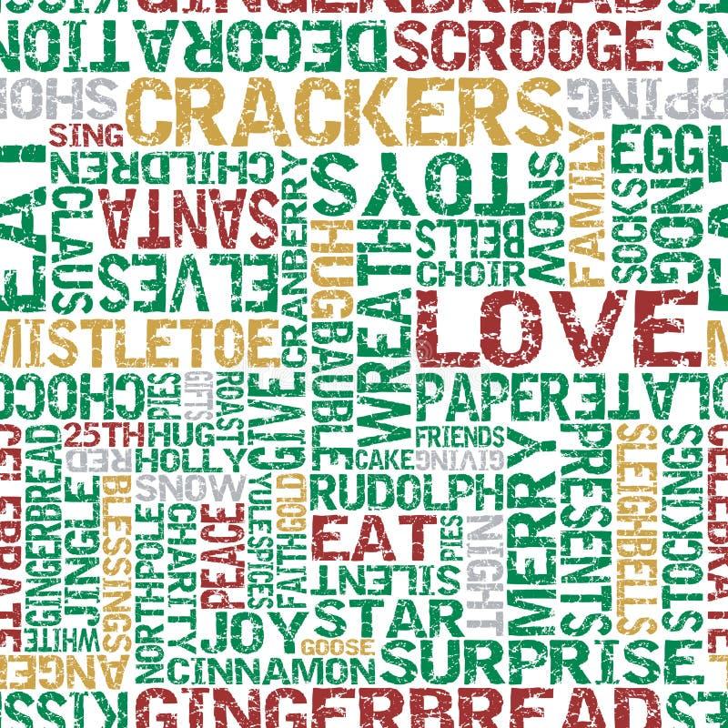Typografisches Weihnachtsthemenorientierte nahtlose Fliese. lizenzfreie abbildung