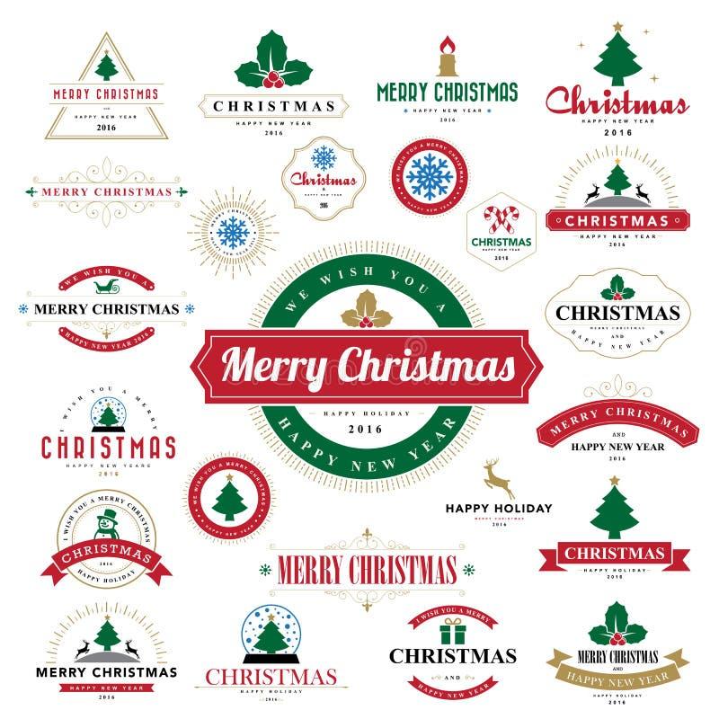 Typografisk bakgrund för glad jul och för lyckligt nytt år vektor illustrationer