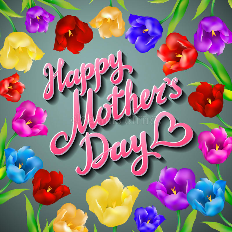 Typografisk bakgrund för lyckliga mödrar med gruppen av vårtulpanblommor vektor illustrationer