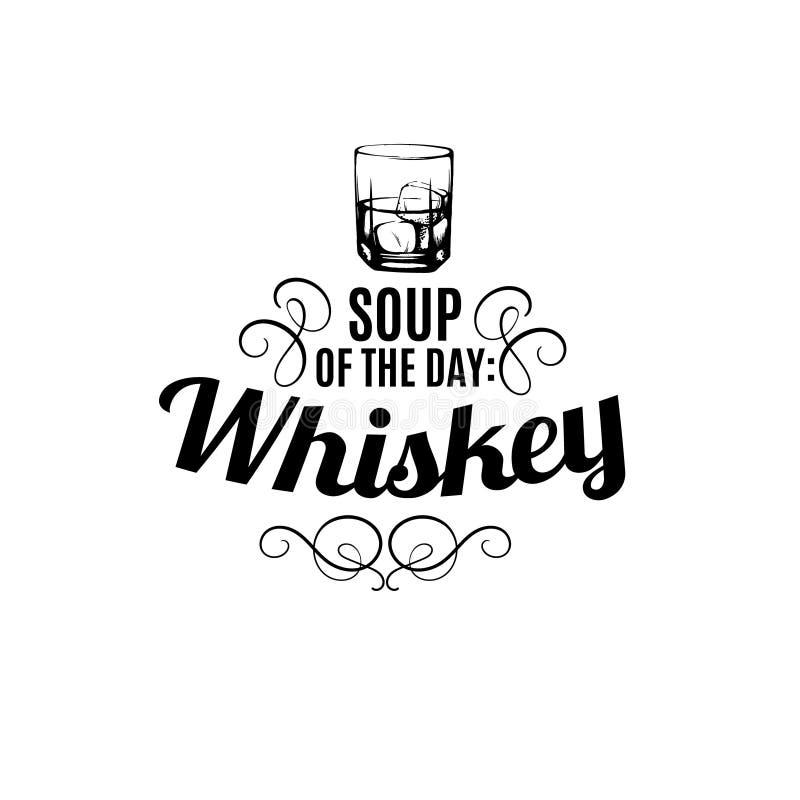 Typografisk bakgrund för vektorcitationstecken om whisky stock illustrationer