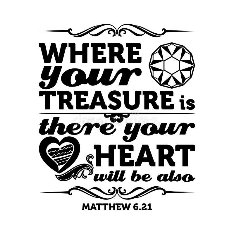 Typografisk bibel Var din skatt är, där ska din hjärta vara också stock illustrationer