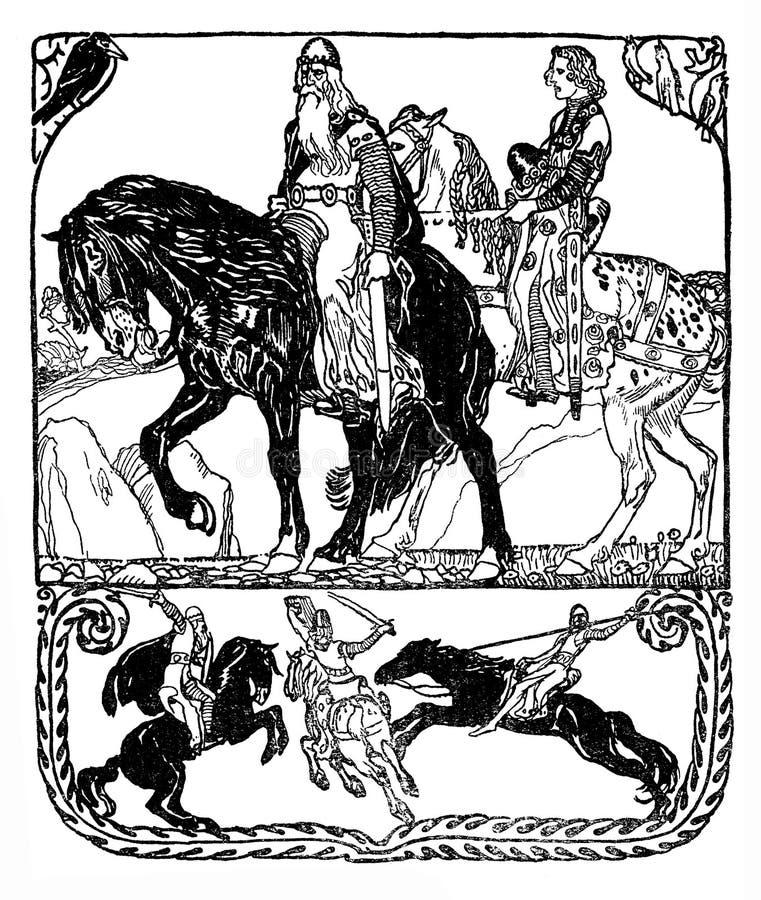 Typografisk dekorativ ram för art décostilsköld med medeltida ridderlighetplats: konung riddare, hästryggstrid med lancen och royaltyfri illustrationer
