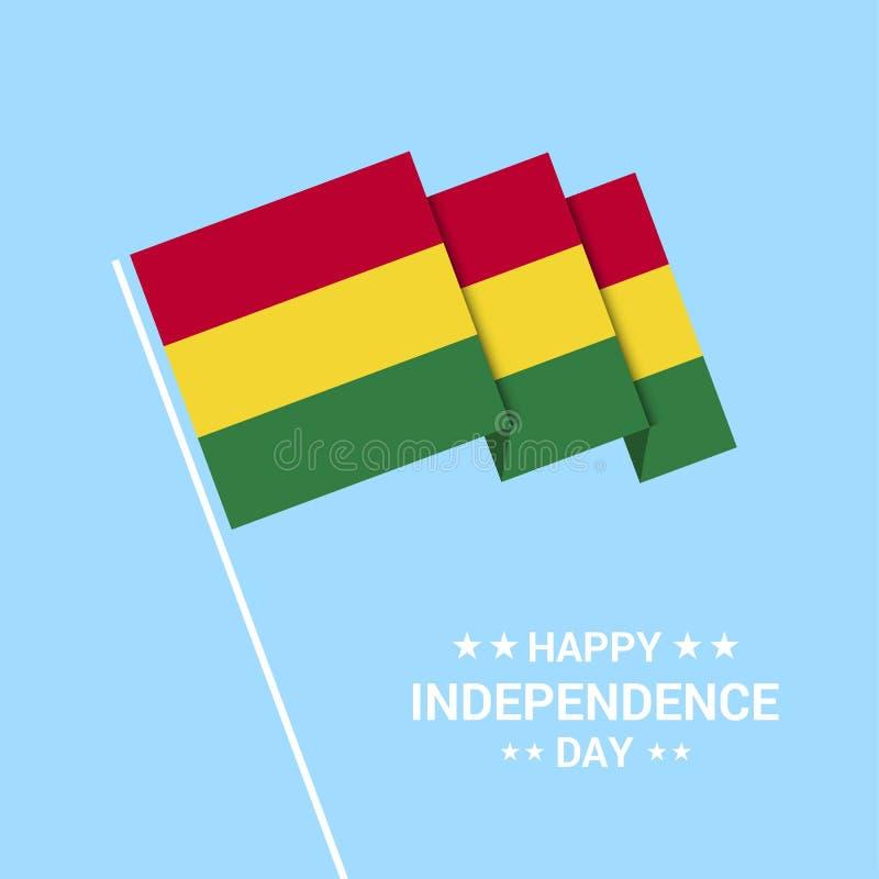 Typografisk design för Bolivia självständighetsdagen med flaggavektorn vektor illustrationer