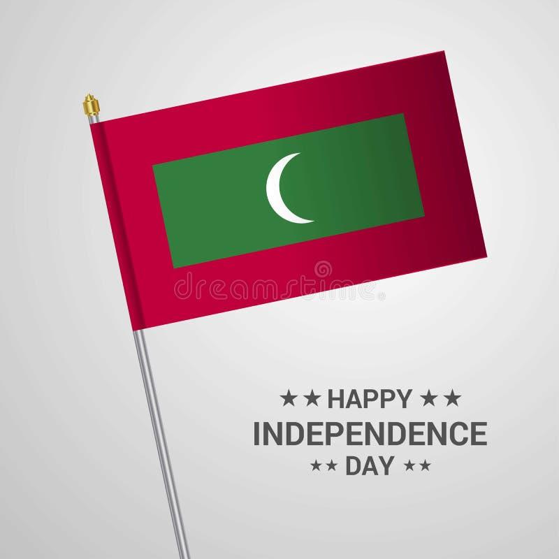Typografisk design för Maldiverna självständighetsdagen med flaggavektorn stock illustrationer