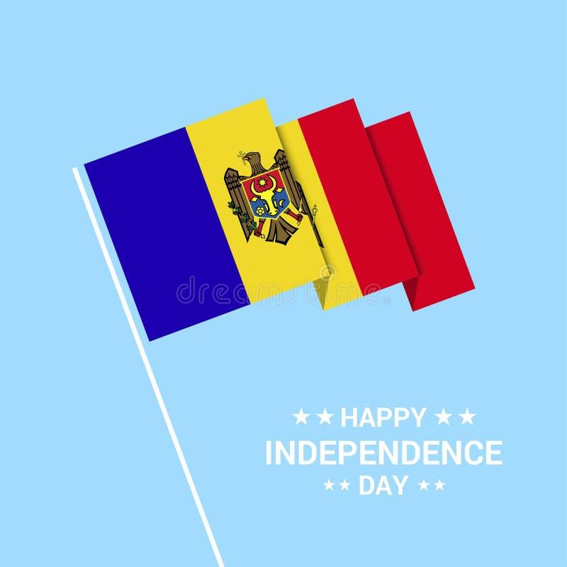 Typografisk design för Moldavien självständighetsdagen med flaggavektorn royaltyfri illustrationer